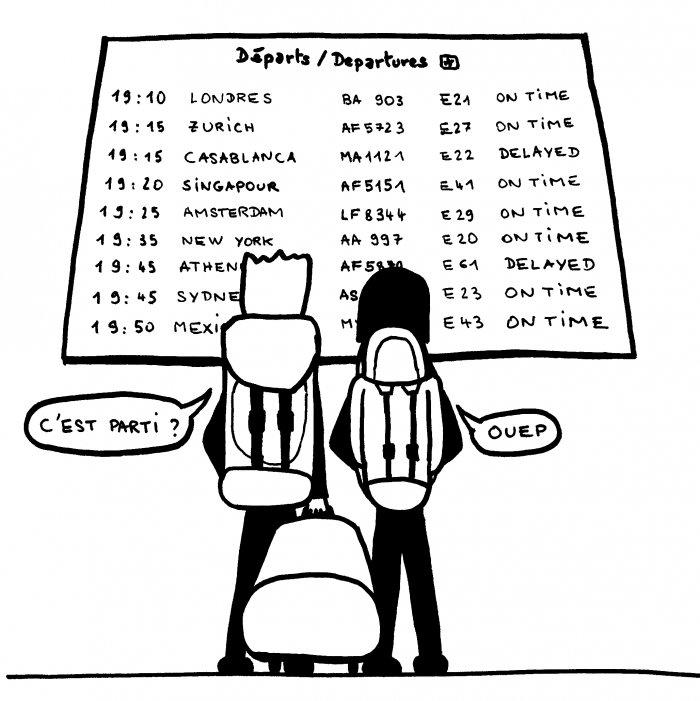 Tableau des départs de l'aéroport