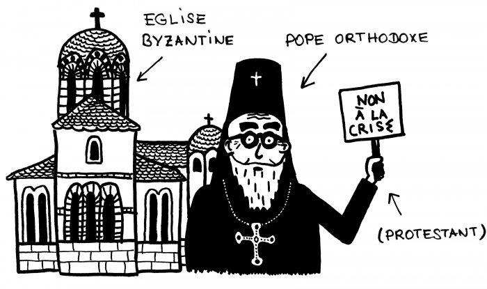 Dessin d'eglise byzantine et de pope