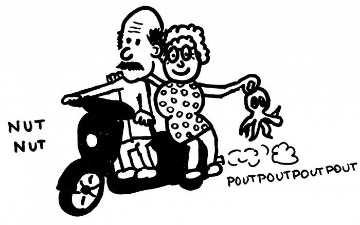 Couple de vieux grecs sur un scooter