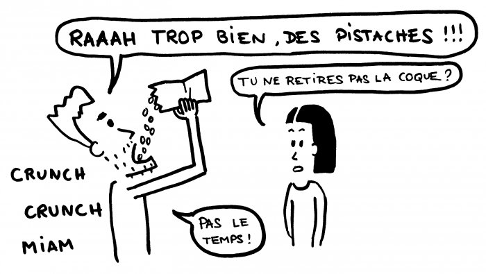 Dessin goinfre pistaches