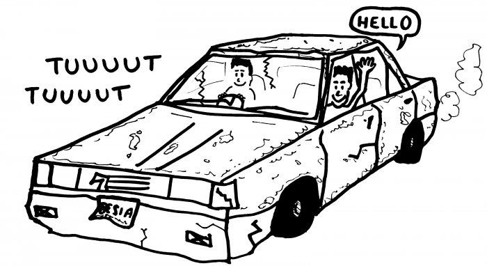 Dessin auto-stop voiture pourrie