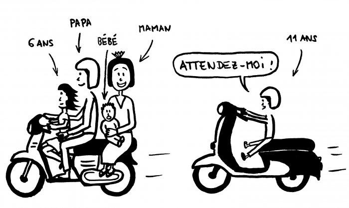 Dessin d'une famille indonésienne sur des scooters
