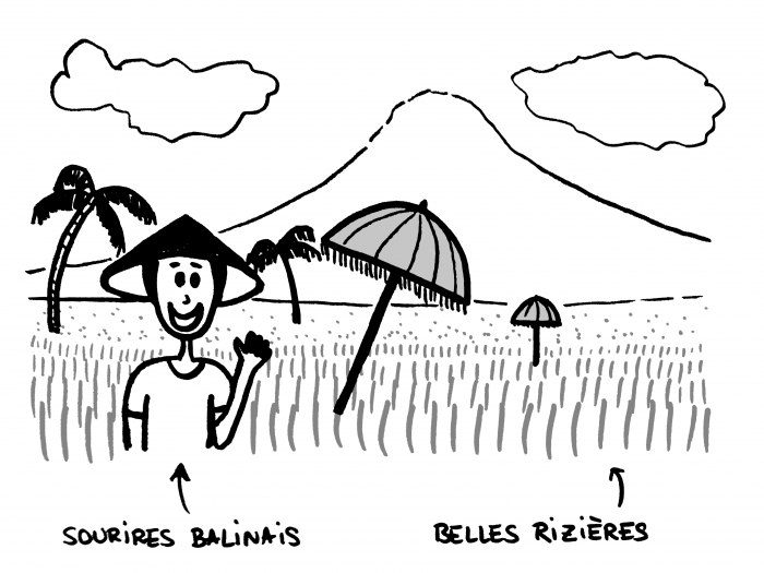 Sourires balinais dans les rizières