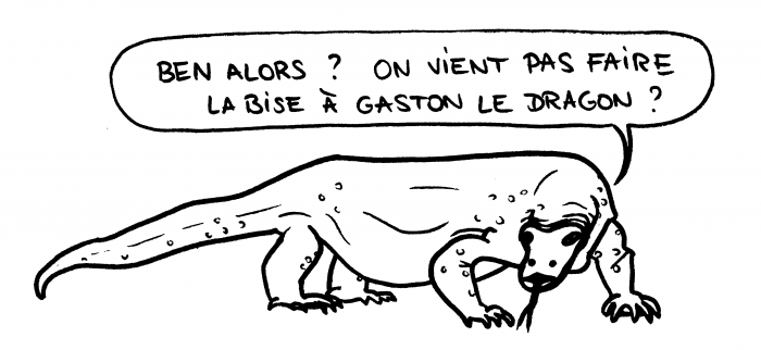 Dessin : Gaston le dragon de Komodo