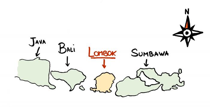 Carte de Lombok et des îles de la Sonde