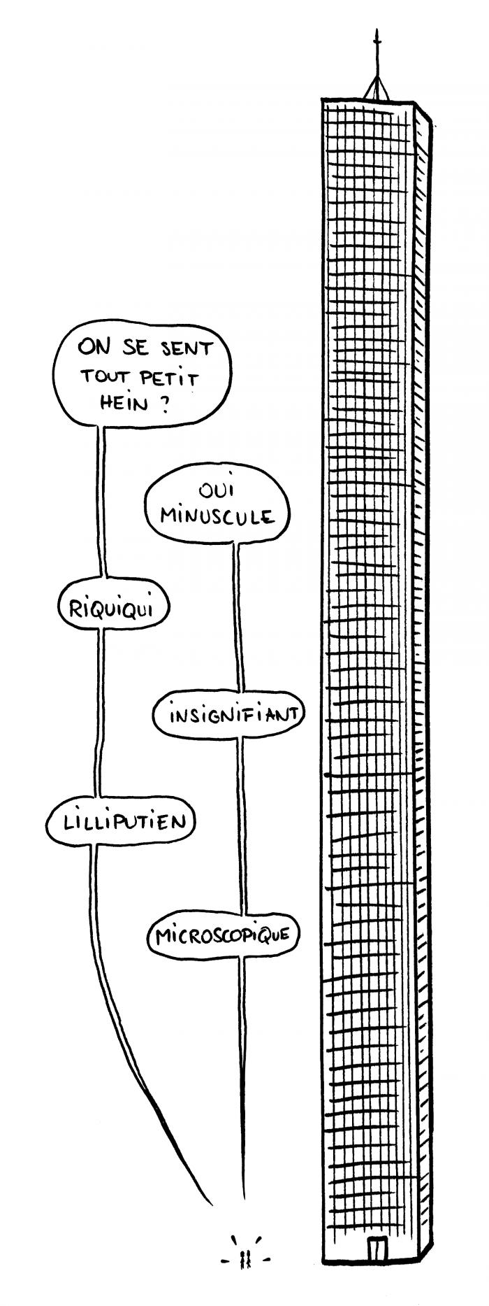 Dessin : face à un gratte-ciel