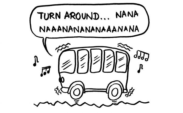 Dessin bus qui tremble, chauffeur qui chantonne