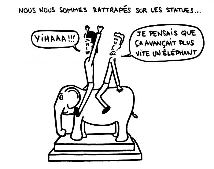 Dessin : nous sur une statue d'éléphant