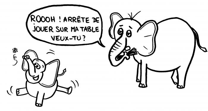 Dessin : éléphant sur la table