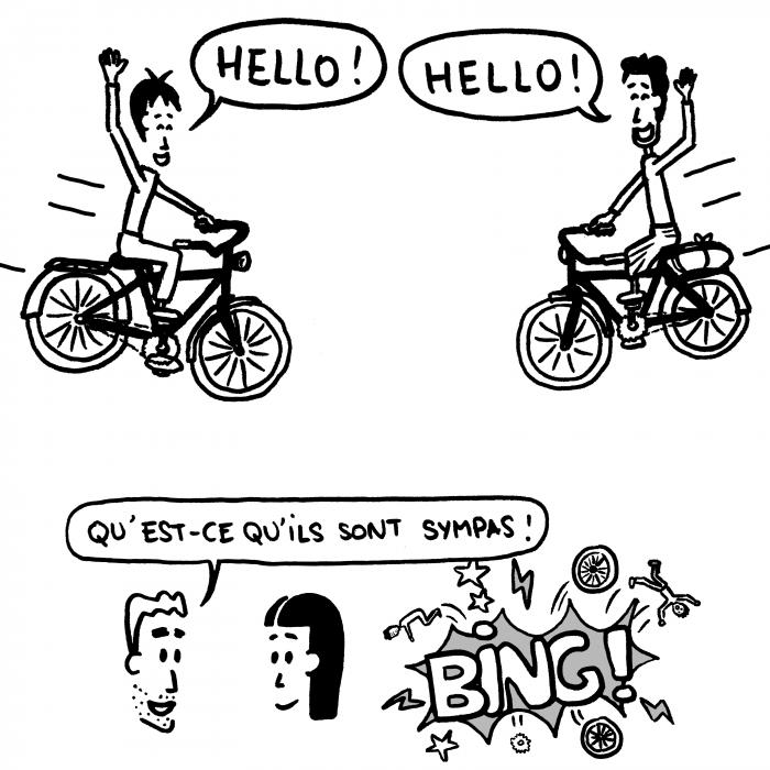 Dessin vélos qui se foncent dedans en nous disant bonjour