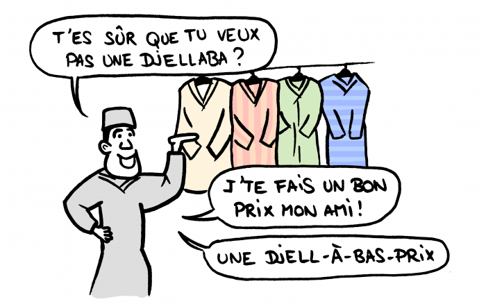 Dessin : vendeur de djellabah au souk au Maroc