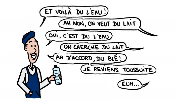 Dessin : différence d'accent marocain français avec l'épicien