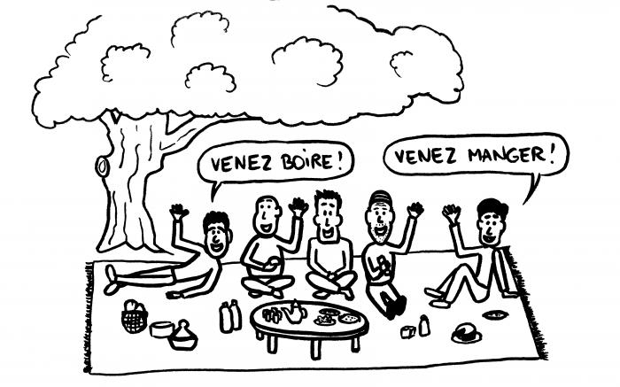 Dessin : invités à un pique-nique par des Marocains sympas