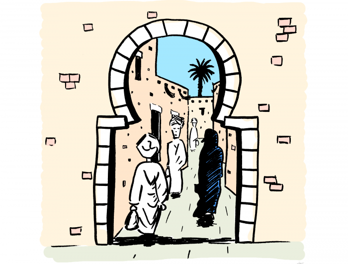 Dessin : ruelle marocaine authentique