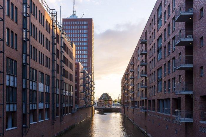 Speicherstadt au coucher du soleil, Hambourg