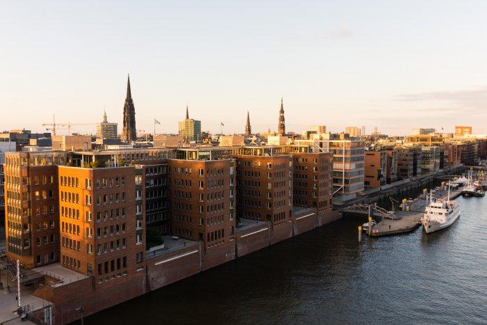 Coucher de soleil sur Hambourg