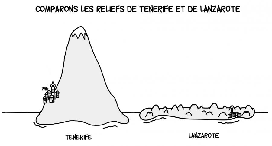 Dessin : comparaison des reliefs de Tenerife et de Lanzarote