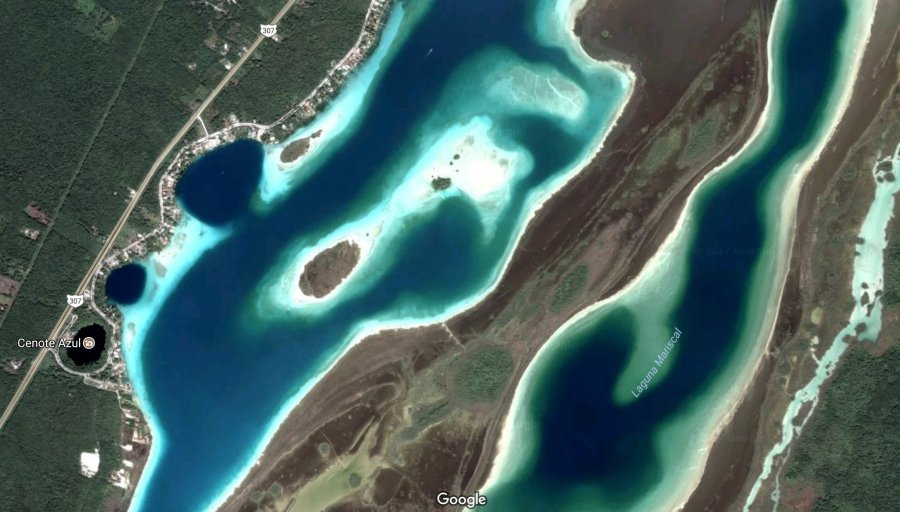 Image satellite Google Maps de Bacalar