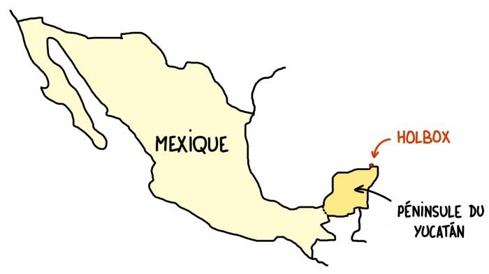 Carte d'Holbox, Yucatán, Mexique