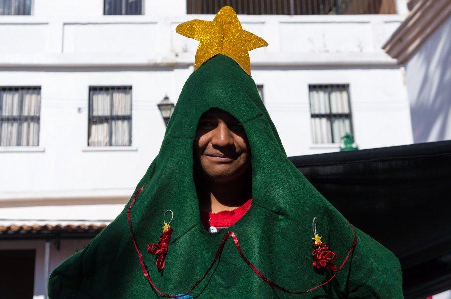 Mexicain déguisé en sapin de noël