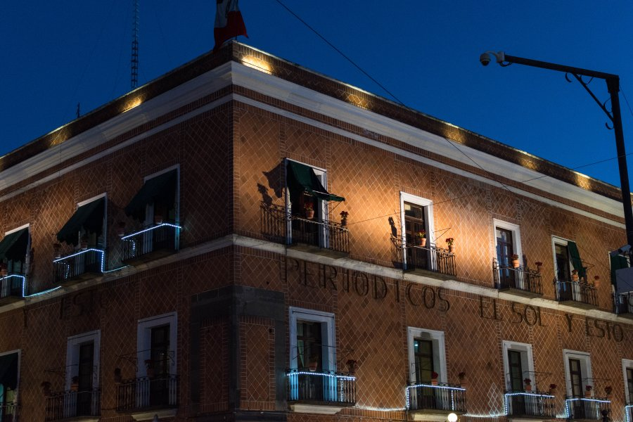 Puebla de nuit, Mexique