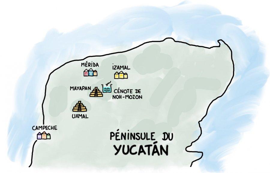 Dessin : Carte du Yucatan : Mérida, Campeche, Izamal, Uxmal, Mayapan, Noh-Mozon