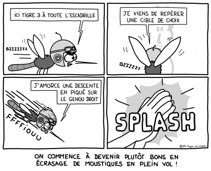 Dessin : Écrasage de moustiques en plein vol