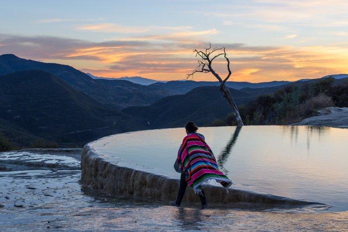 Coucher de soleil à Hierve el Agua, Mexique