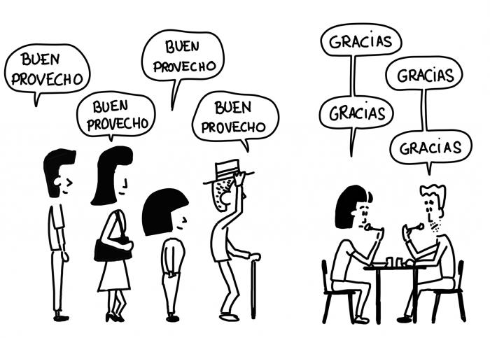 Dessin : Buen provecho dans les restaurants mexicains