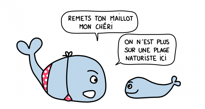 Dessin : baleines pas naturistes