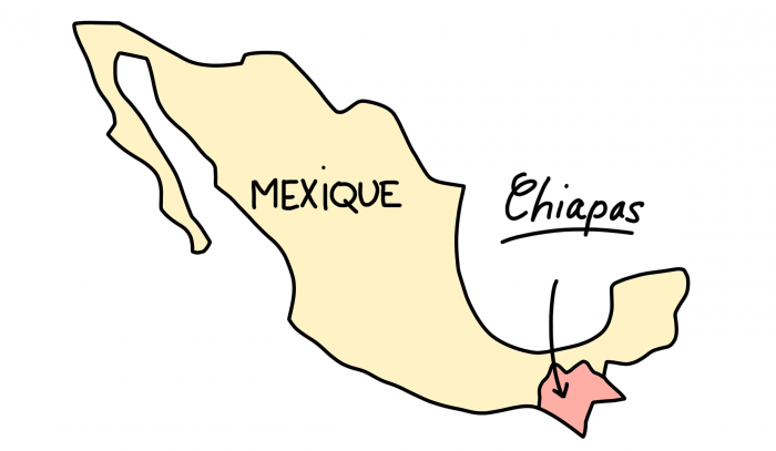 Dessin : carte du Chiapas