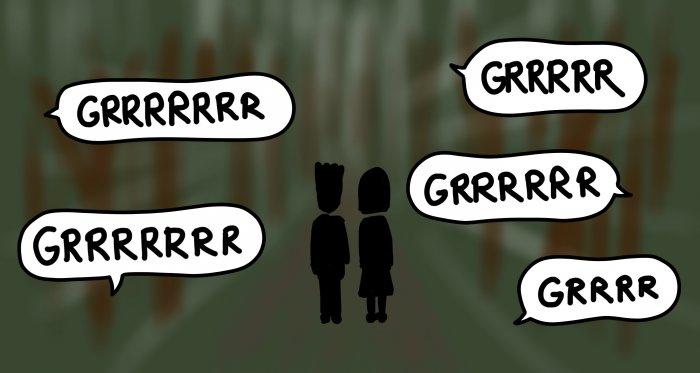 Dessins : singes hurleurs dans la forêt : GRRRRRR GRRRRRR