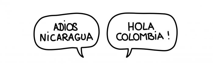 Adios Nicaragua, hola Colombia!