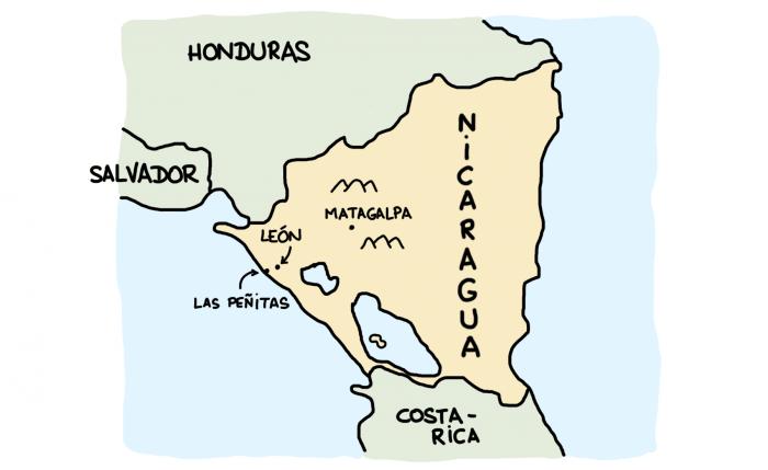 Carte de la partie nord ouest du Nicaragua : León, Las Peñitas, Matagalpa