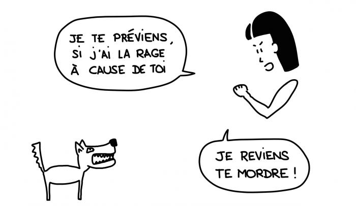 Dessin, frayeur chien rage