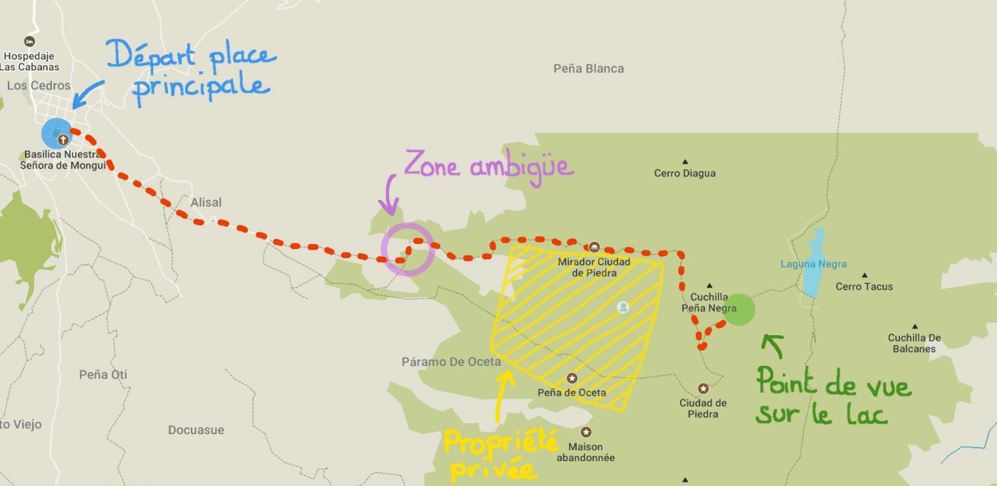 Itinéraire de notre randonnée au Paramo de Oceta, Colombie