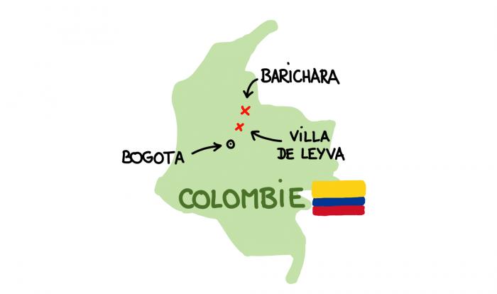 Carte de Villa de Leyva et Barichara en Colombie