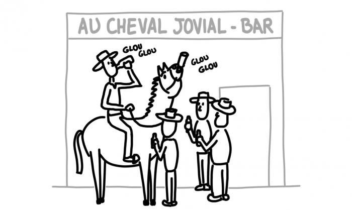 Dessin : cheval qui boit une bière avec son cavalier à Jardín