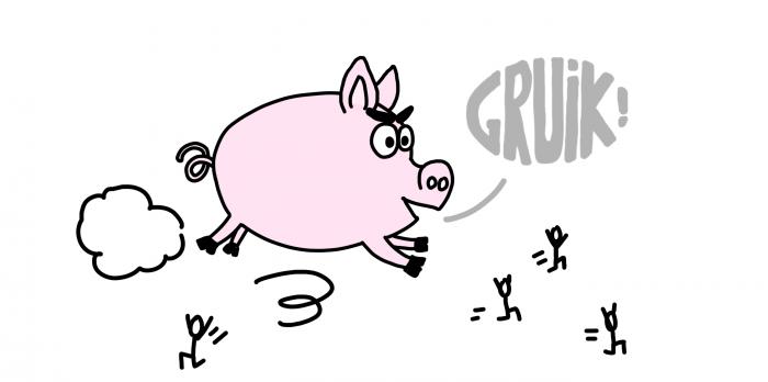 Dessin : cochon qui s'échappe au marché d'Otavalo