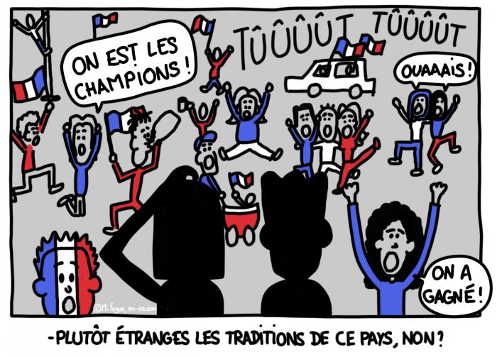 Dessin du lundi : Quelle chance, nous passons par la France exactement pendant cette curieuse fête populaire qui n'est célébrée qu'une fois tous les vingt ans !