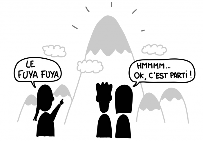 Dessin : randonnée sur le Fuya Fuya