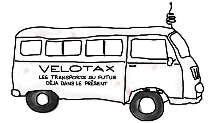 Dessin : Velotax, les transports du futur, déjà dans le présent