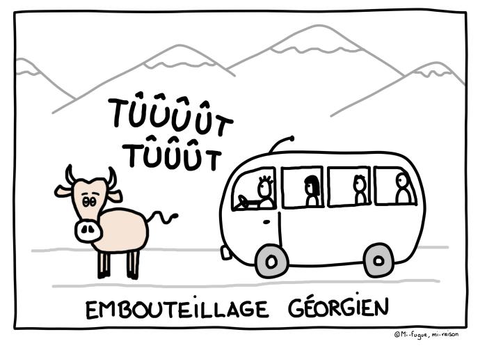 Dessin : un embouteillage géorgien