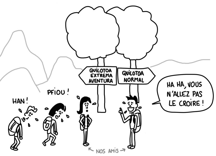 Dessin : randonnée Quilotoa version Extrema Aventura