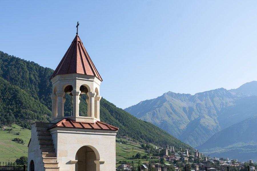 Village de Mestia, Svanétie, Géorgie