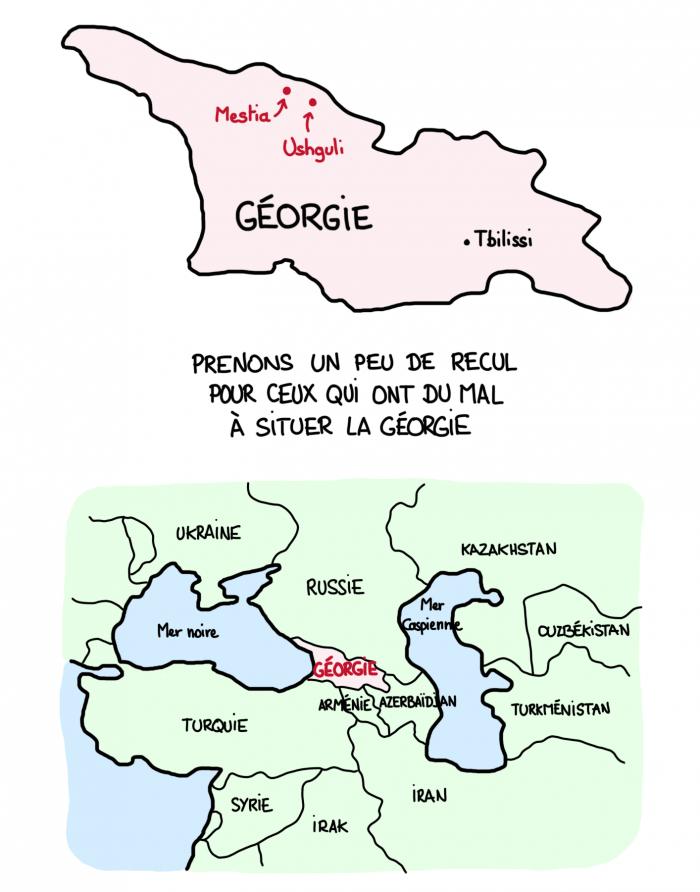 Carte de la Svanétie, Mestia et Ushguli en Géorgie