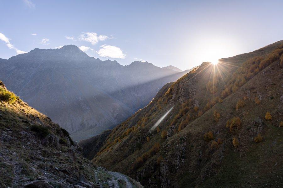 Randonnée vers le mont Kazbek, Géorgie