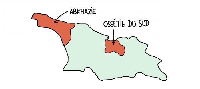 Carte de Géorgie avec les régions indépendantistes envahies par la Russie