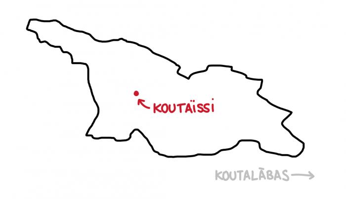 Carte de Koutaïssi en Géorgie