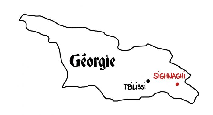Dessin : carte de la Kakhétie et de Sighnaghi en Géorgie